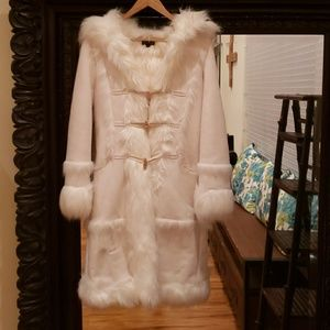 Bebe Hooded Furry Coat.
